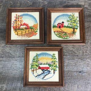 Vtg cross stitch country scene framed art Farm